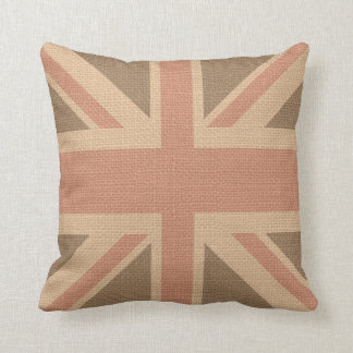 Faux Burlap Jute Linen Look UK Flag Throw Pillow