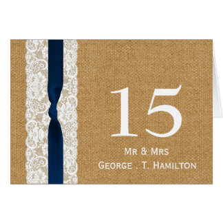 FAUX burlap lace, rustic wedding table numbers