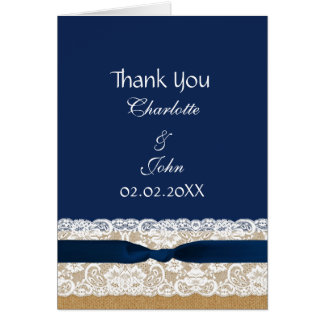 FAUX burlap lace, rustic wedding Thank You Card