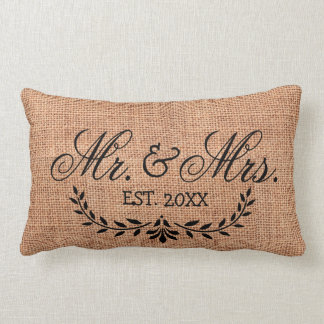 Faux Burlap Mr. & Mrs. Wedding Year Lumbar Pillow