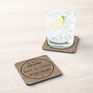 Faux Burlap Old Sign Style Bar and Grill Coaster