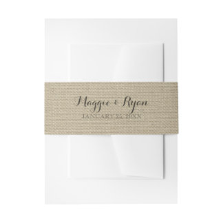 Faux Burlap Rustic Country Invitation Wrap Invitation Belly Band
