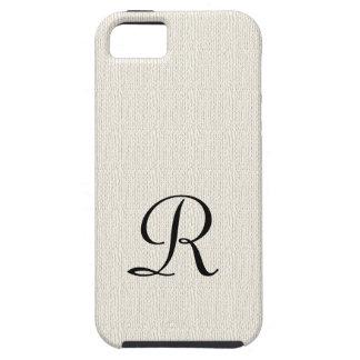 Faux Burlap Rustic Monogram iPhone SE, 5, 5S Case
