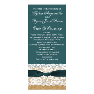FAUX burlap, rustic wedding programs tea length Custom Rack Cards