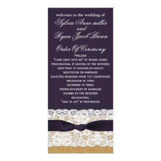 FAUX burlap, rustic wedding programs tea length Full Colour Rack Card