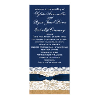 FAUX burlap, rustic wedding programs tea length Personalized Rack Card