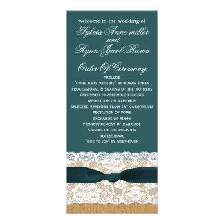 FAUX burlap, rustic wedding programs tea length Rack Card