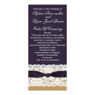 FAUX burlap, rustic wedding programs tea length Rack Cards