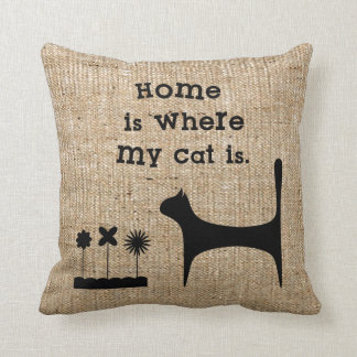 Faux Burlap Throw Pillow for Cat Lovers