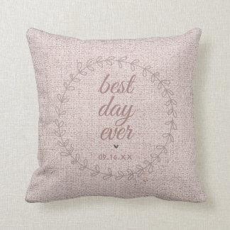 Faux Burlap Wedding Keepsake Monogram Throw Pillow