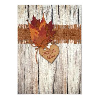 "FAUX Burlap, Wood, Leaves, Heart Wedding Invite 2 5"" X 7"" Invitation Card"