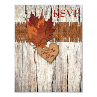 "FAUX Burlap Wood Leaves Heart Wedding Reply Card 4.25"" X 5.5"" Invitation Card"