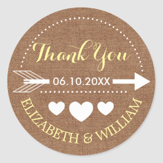 Faux Burlap & Yellow Wedding Thank You Arrow Heart Classic Round Sticker
