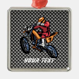 Faux Carbon Fiber Motocross Metal Ornament