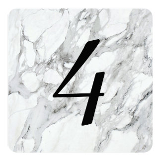 Faux Carrara Marble Table Number Cards Invitations