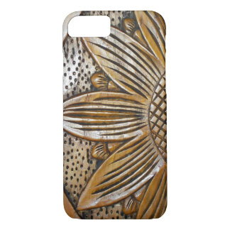 Faux Carved Wooded Texture Sunflower Carving Case-Mate iPhone Case