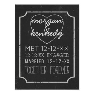 Faux Chalkboard Engaged Married Together Forever Poster
