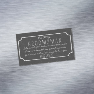 Faux Chalkboard Frame Be My Groomsman Request Magnetic Business Card