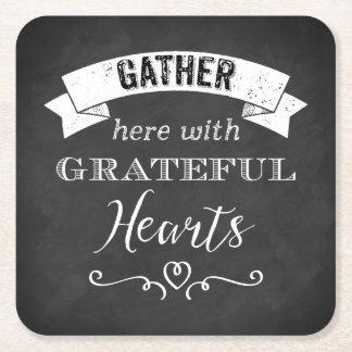 FAUX Chalkboard Grateful Hearts PAPER Coasters