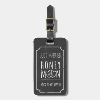 Faux Chalkboard Just Married Honeymoon Bag Tag
