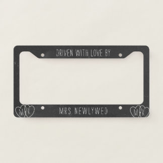 Faux Chalkboard License Plate Frame for Newlyweds