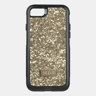Faux Champagne Gold Glitter Otterbox 3D Monogram OtterBox Commuter iPhone 8/7 Case
