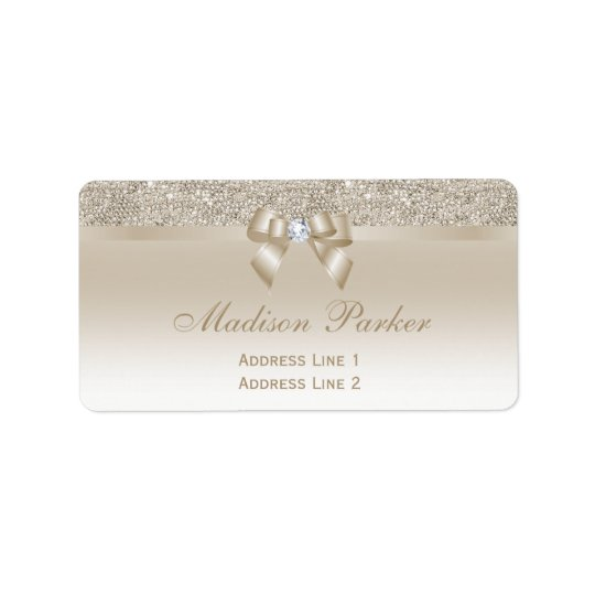 Faux Champagne Sequins Bow Ribbon Diamond Label
