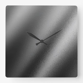Faux Charcoal Metallic Square Wall Clock
