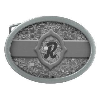 Faux Chrome Mini Box Background Oval Belt Buckle