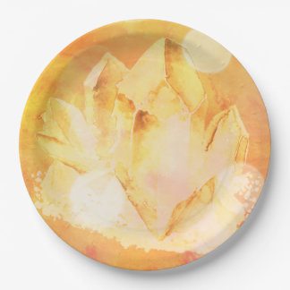 *~*  Faux Citrine Crystal Healing Energy Chakra Paper Plate