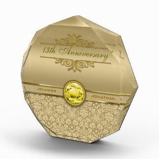 Faux Citrine Yellow Gemstone Metallic Gold Damask