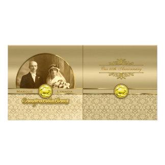 Faux Citrine Yellow Gemstone Metallic Gold Damask Personalized Photo Card