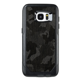Faux Cloth Black Military Camo Camouflage Pattern