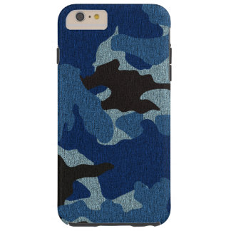 Faux Cloth Blue Camo Tough iPhone 6 6S Plus Cases
