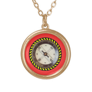 Faux Compass gold finish Gold Plated Necklace