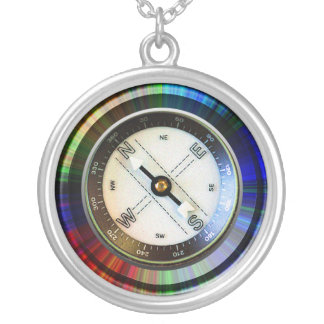 Faux Compass Silver Plated Necklace