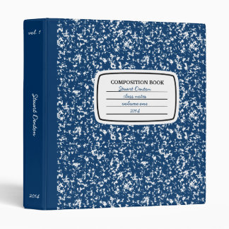 Faux Composition Book 3-ring Binder, Navy Blue 3 Ring Binders