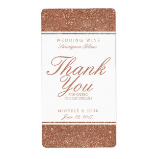 Faux Copper Glitter Wedding Wine Custom Label Shipping Label
