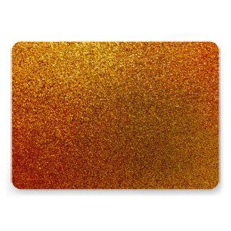 "Faux Copper Gold Yellow Glitter Background Sparkle 5"" X 7"" Invitation Card"