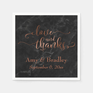 Faux Copper Script Love and Thanks w/ Black Marble Disposable Napkins