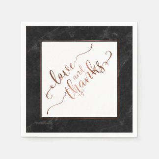 Faux Copper Script Love and Thanks w/ Black Marble Paper Napkins