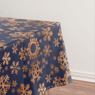Faux Copper Snowflakes on Midnight Blue Tablecloth