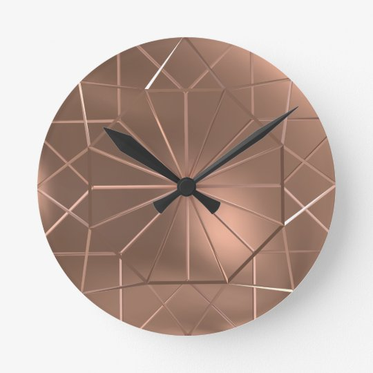 Faux Copper Wire Octagon Round Wall Clock