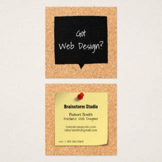 Faux Corkboard Web Designer Square Business Card