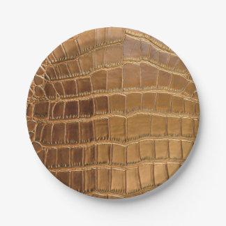 Faux Crocodile Leather Animal Skin Pattern Paper Plate