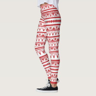 Faux Cross Stitch - Deer and Snowflakes Leggings