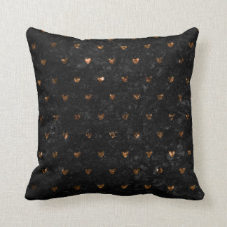Faux Crushed Velvet Metallic Petite Copper Hearts Throw Pillow