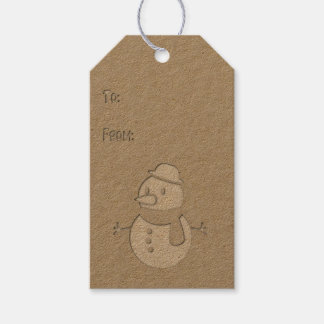 Faux Cutout - Snowman - Gift Tag #3 Pack Of Gift Tags