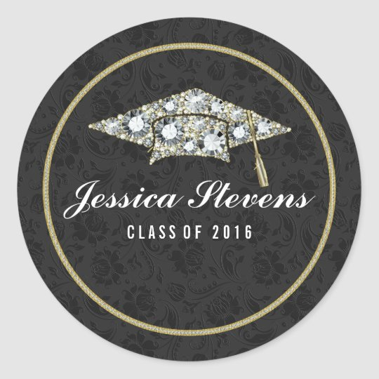 Faux Damions And Gold Graduation Hat Black Damasks Classic Round Sticker