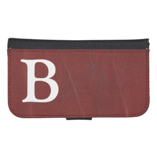 Faux Dark Red Leather Background Phone Wallets